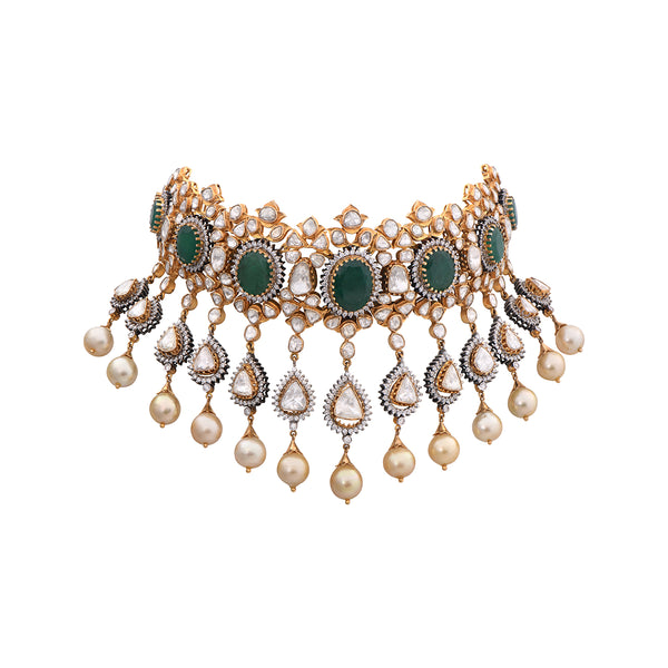 Diamond Polki Emerald Pearls Studded Jadau Necklace