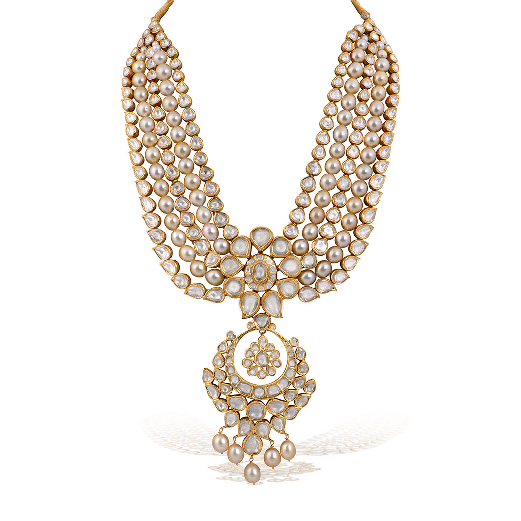 Traditional Long Jadau Necklace Set with Pearls Studded