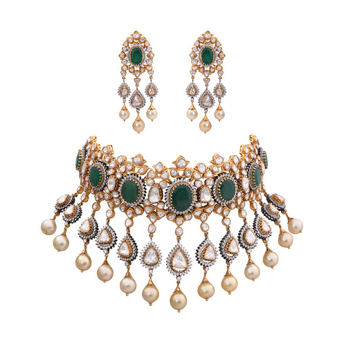 Diamond Polki Emerald Pearls Studded Jadau Choker