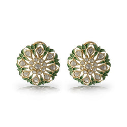 Nuvo Polki Earring With Green Enamel