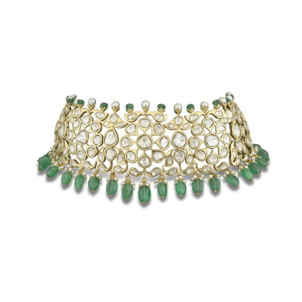 Nuvo Polki Emerald Beads & Pearls Studded Choker