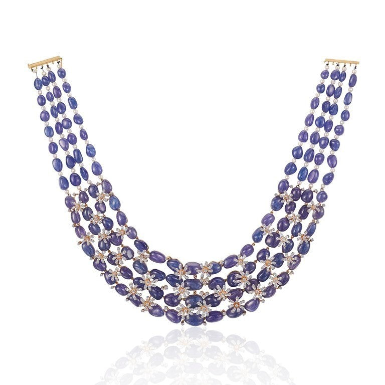 Diamond & Tanzanite Studded Necklace