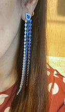 Sterling Diamond & Sapphire Studded Danglers