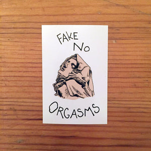 fake no orgasms postcard
