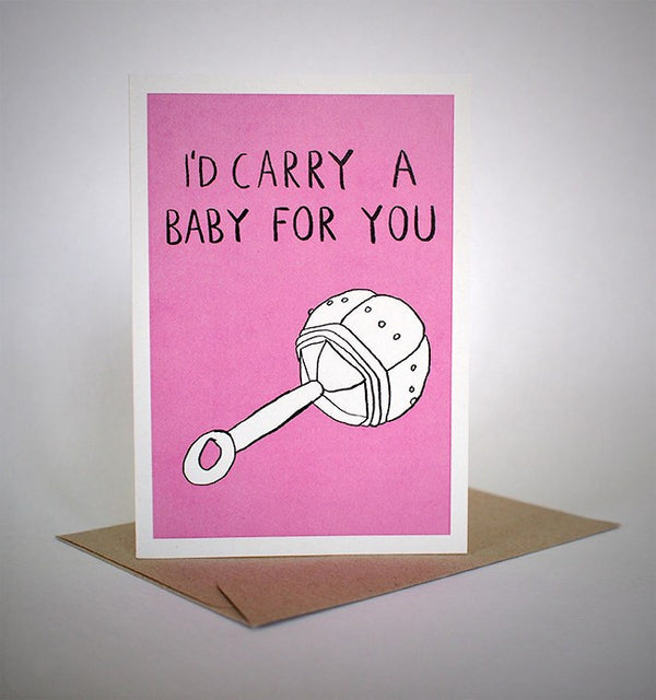 sapphic serenades 'i'd carry a baby for you' card greeting cards | nikki darling australia