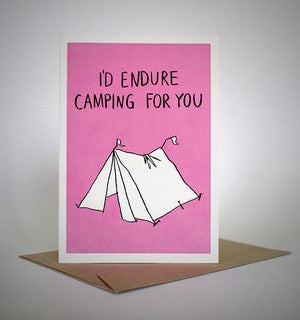 sapphic serenades 'i'd endure camping for you' card greeting cards | nikki darling australia