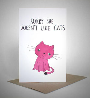 sapphic sorries 'sorry she doesn't like cats' card greeting cards | nikki darling australia