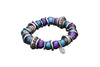Stretchy Purple and Blue Baroque Pearl Bracelet with Rings