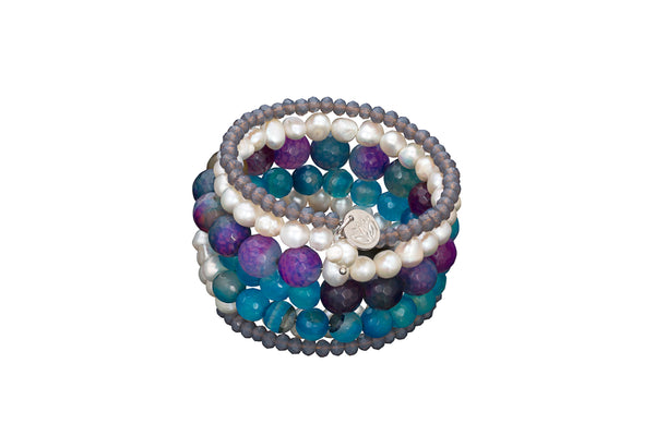 6 Strand Pearl, Crystal and Agate Wrap Bracelet Purple/Blue