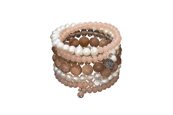 6 stand pearl crystal and agate rose gold toned wrap bracelet