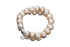 Double Strand Baroque Pearl Bracelet With Magnetic Clap 18k white gold plating.