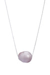 Large Mother of Pearl Shell Single Sliding Necklace on Sterling Silver Chain 18""