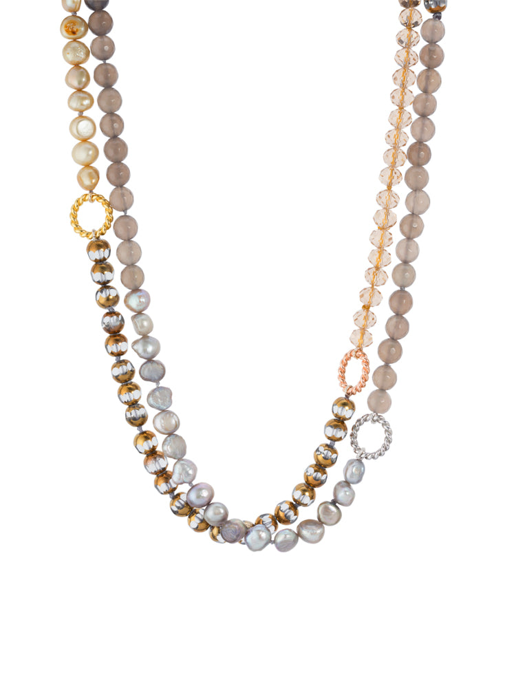 Long Pearl, Crystal, Agate Necklace with magnetic clasp