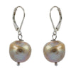 Single Brown Baroque with Sterling Silver and Leverback hook Earring