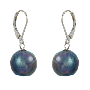 Single Blue Baroque with Sterling Silver and Leverback hook Earring
