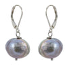 Single Grey Baroque with Sterling Silver and Leverback hook Earring