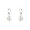 Single White Baroque with Sterling Silver and Leverback hook Earring