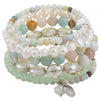 6 strand Sea Foam Green Pearl Crystal Agate Wrap Bracelet