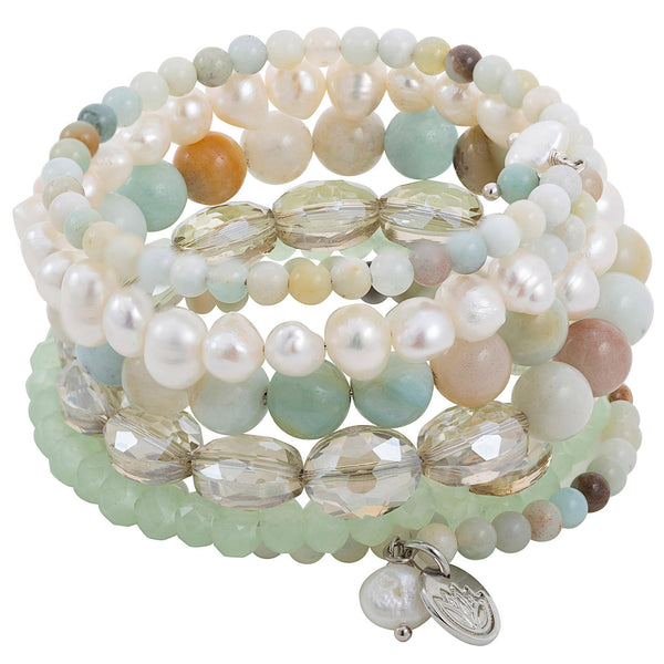 6 Strands Sea Foam Green Pearl Crystal Agate Wrap Bracelet