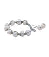 White Baroque Pearl Bracelet on Braided silk Adjustable