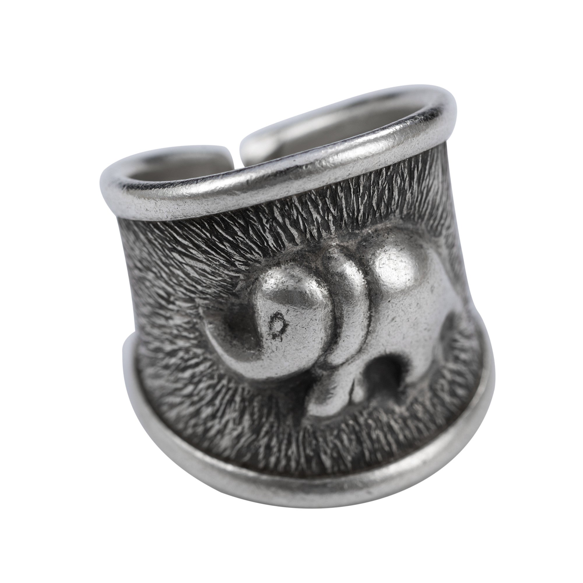 Elephant Design Embossed Cuff Ring