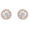 925 Sterling Silver 18K Rose Gold Plated Round Stud Earrings