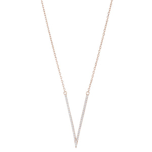 v necklace with rose gold plated