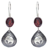 Red Garnet Stone with Elephant Design Earrings