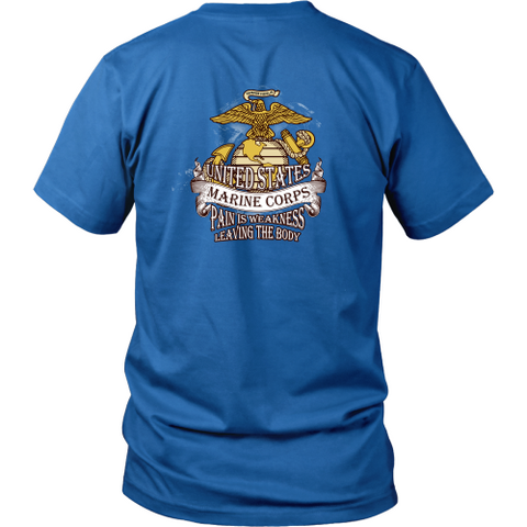 Marine T-shirt - US Marine corps, pain is weakness leaving the body