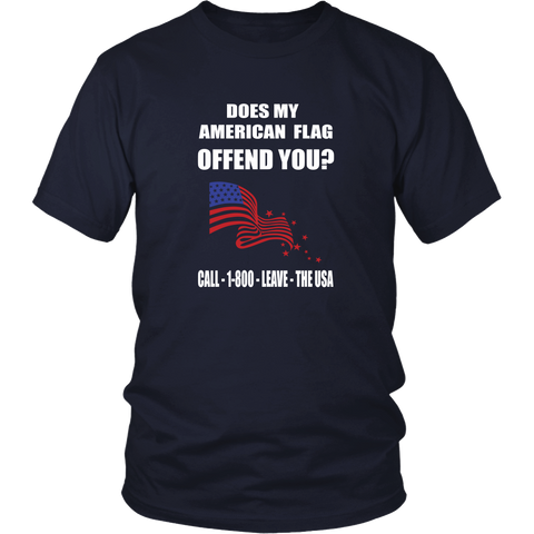 Politics T-shirt - Does my american flag offend you?
