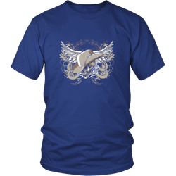 Skull T-shirt - Skull with wings and hat