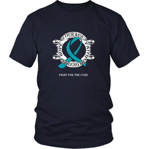 Fight Cancer T-shirt - Courage, faith, strength, hope