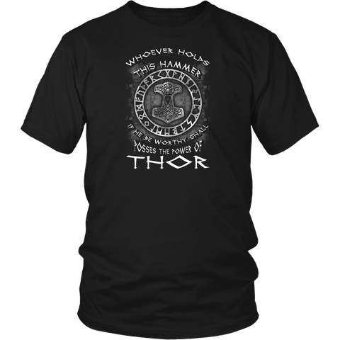 Thor T-Shirt. New Unisex Adult Black Shirt Tees