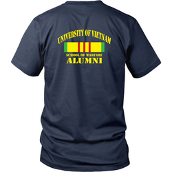 Vietnam Veterans T-shirt - University of vietnam school of warfare alumni (Back print)