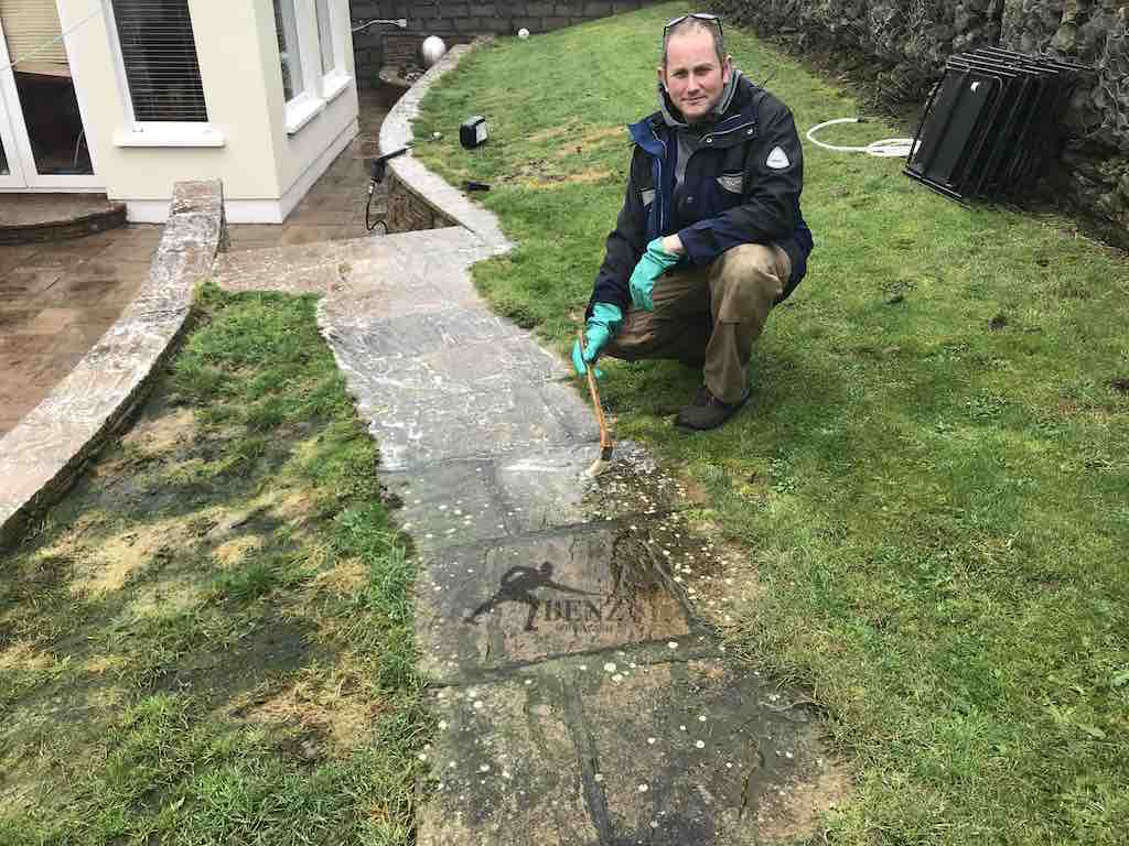 Applying Tornado Cleanze-stone-path-algae-white-lichen-spots-dots