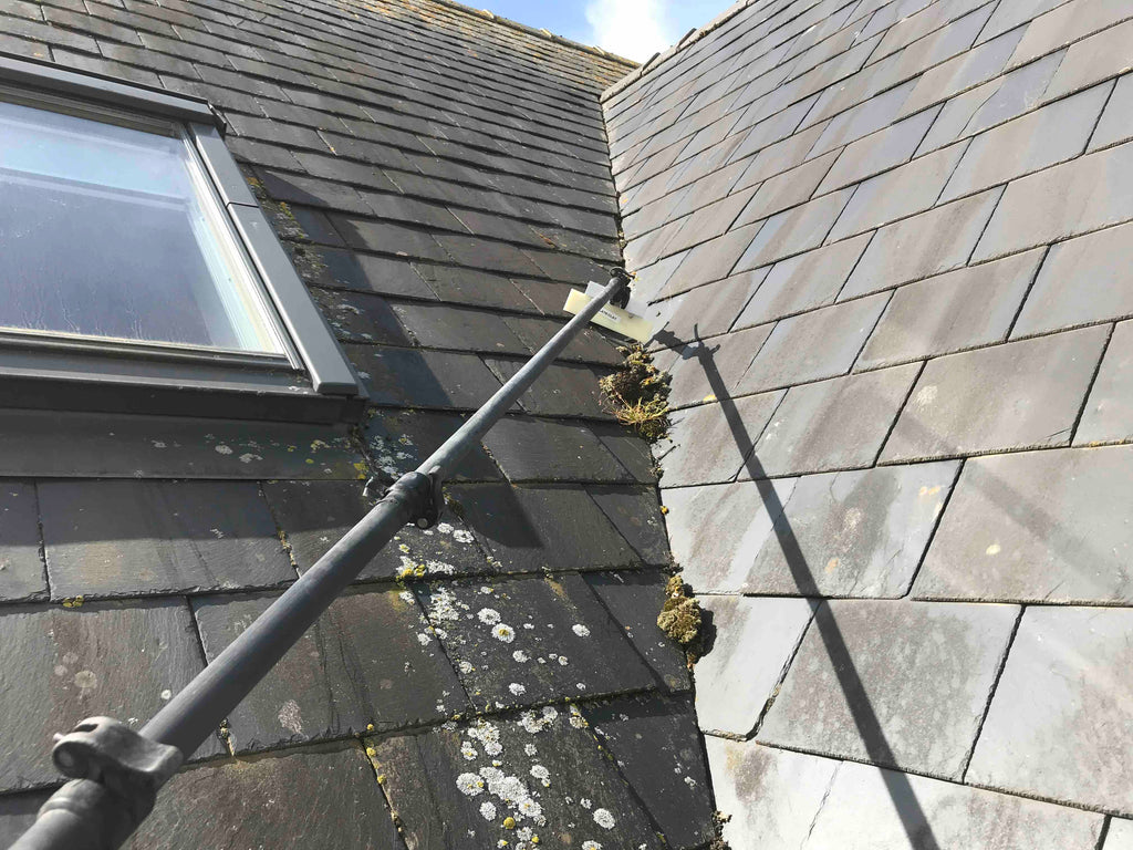 Slate roof moss scraping, softwashing equipment