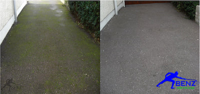 Tarmac drive before and after a soft wash treatment of moss and algae