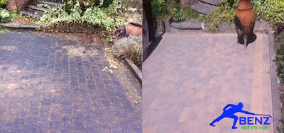 Soft washing Cobblelock-black-lichen-algae-stain removal-Benz-Softwash-solutions