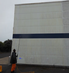 Soft washing industrial steel cladding with Benz Lightning Cleanze