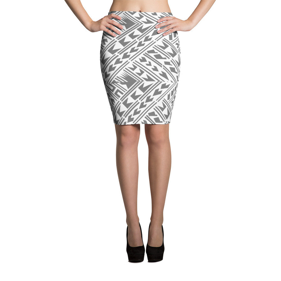 Samoan Elei - Dark Grey Pencil Skirt