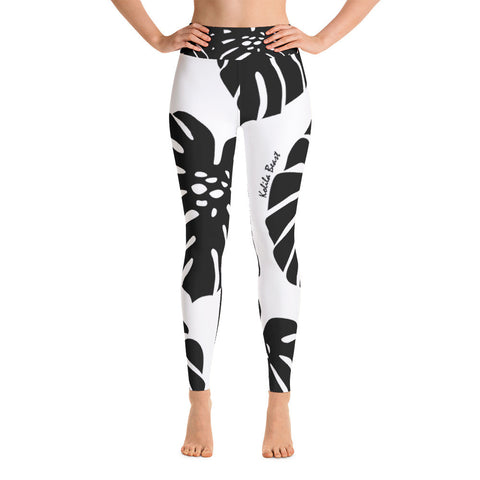 Yoga Leggings - Monstera Leaf B&W