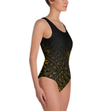 Tatau One-Piece Swimsuit - Black & Yellow