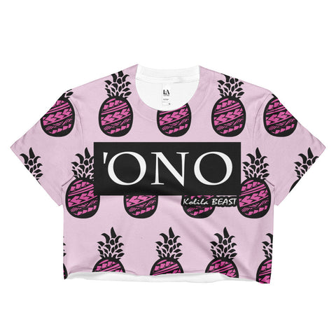'Ono - Ladies Pink Pineapple Sublimation Crop Top