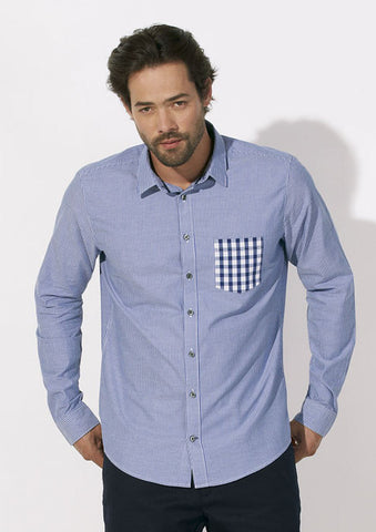 Chemise Bio Homme à poche contrastée / Organic Shirt Men with contrast pocket - Blue Oxford - ArteCita Positive Lifestyle Mode Bio et Objets de déco