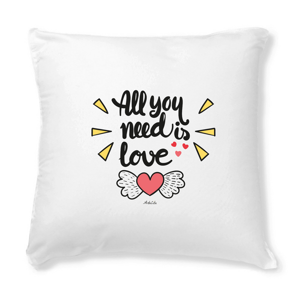 Housse de coussin - 40x40cm - All you need is love - ArteCita Positive Lifestyle Mode Bio et Objets de déco