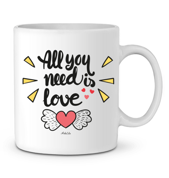 Mug Céramique Premium - All you need is love - ArteCita Positive Lifestyle Mode Bio et Objets de déco