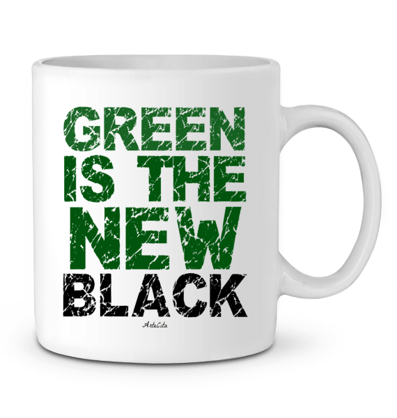 Mug Céramique Premium - Green Is The New Black - ArteCita Positive Lifestyle Mode Bio et Objets de déco