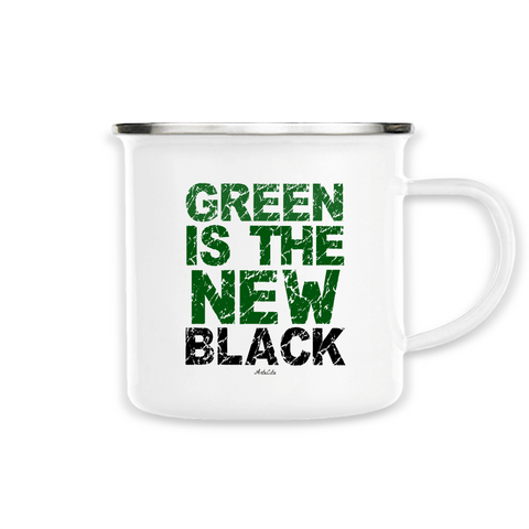 Mug / Tasse en métal émaillé - Green Is The New Black - ArteCita Positive Lifestyle Mode Bio et Objets de déco