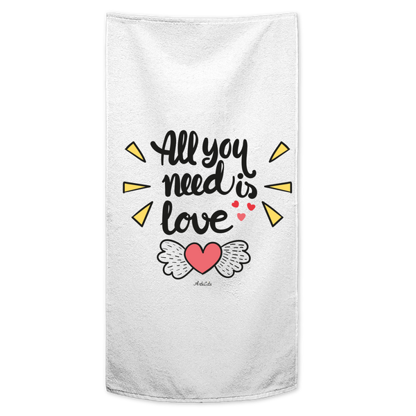 Serviette / Drap de bain imprimé - All you need is love - ArteCita Positive Lifestyle Mode Bio et Objets de déco