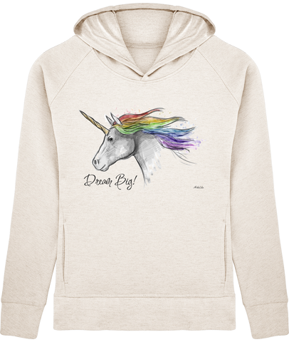 Sweat Bio à Capuche Femme / Organic Hoodie Women - Licorne Unicorn Dream big - ArteCita Positive Lifestyle Mode Bio et Objets de déco